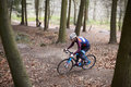 Young man cross-country cycling between trees in a forest Royalty Free Stock Photo