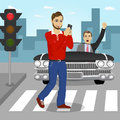 Young man crossing street sending sms while angry driver in black convertible car yelling at him