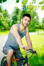 Young man cyclist Royalty Free Stock Photos