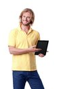 Young man with digital touch tablet Stock Image