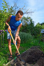 A young man digs a hole to plant in the flower bed on the plot Royalty Free Stock Images