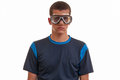 Young man with diving mask snorkeling swimming vacation conce concept Royalty Free Stock Photography
