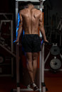 Young man doing exercise for triceps male bodybuilder heavy weight Royalty Free Stock Photo