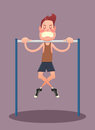 Young man doing exercises on horizontal bar Royalty Free Stock Photo