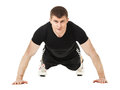 Young man doing push up exercise. Royalty Free Stock Photo