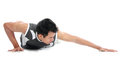 Young man doing push up exercise portrait of fitness ups on floor Royalty Free Stock Images