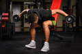 Young man doing seated bent over dumbbell reverse handsome african descent mixed race fly workout in gym Stock Images
