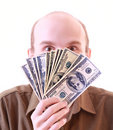Young man with dollars isolated Stock Image