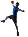 Young man exercising handball player silhouette one caucasian in studio on white background Royalty Free Stock Images