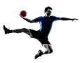 Young man exercising handball player silhouette one caucasian in studio on white background Stock Photo