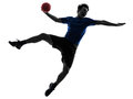 Young man exercising handball player silhouette one caucasian in studio on white background Stock Images