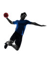 Young man exercising handball player silhouette one caucasian in studio on white background Stock Image