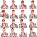 Young man face expressions collage Stock Images