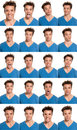 Young man face expressions composite isolated Royalty Free Stock Photo
