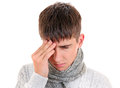Young man feel headache isolated on the white background Royalty Free Stock Image