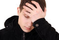 Young man feel headache sad isolated on the white background Stock Photos