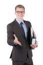 Young man with file is holding out his hand cut image of a smiling businessman glasses and a who for greeting the looking Royalty Free Stock Photography