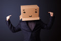 Young man gesturing with a cardboard box on his head with smiley standing and face Royalty Free Stock Images