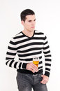 Young man with glass of beer Royalty Free Stock Photo