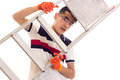 Young man in gloves and glasses holding a ledder Royalty Free Stock Photo