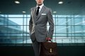 Young man in grey suit Royalty Free Stock Image