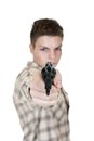 Young man gun isolated white focus gun Royalty Free Stock Photos