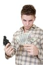 Young man gun money isolated white Royalty Free Stock Image