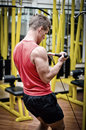 Young man in gym working out exercising biceps on equipment handsome Stock Image