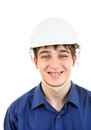 Young man in hard hat portrait of isolated on the white background Royalty Free Stock Images