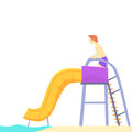 Young man having fun on a water slide in a water park in summer vacation cartoon vector Illustration Royalty Free Stock Photo