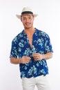 Young man with hawaiian shirt Royalty Free Stock Photos