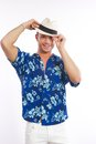 Young man with hawaiian shirt Stock Image
