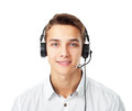 Young man with a headset Royalty Free Stock Photo