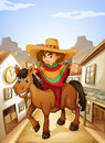 A young man with his horse strolling at the village illustration of Royalty Free Stock Images