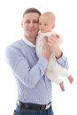 Young man with his little son isolated on white men background Royalty Free Stock Image