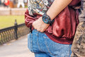 Young man holding his girlfriend by the waist Royalty Free Stock Photo