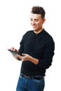 Young Man Holding a Touch Pad
