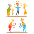 Young man juggling with oranges before his family. Clowns juggling with rings on a circus show. Circus or street actors