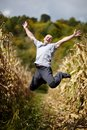Young man jumping of joy in the cornfield Royalty Free Stock Image