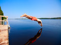 Young man jumping into water Royalty Free Stock Photo