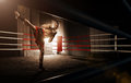 Young man kickboxing in the Arena Royalty Free Stock Photo
