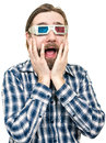 The young man looks through stereo glasses with a beard is isolated on a white background Stock Photos