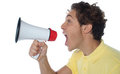 Young man with megaphone Royalty Free Stock Image