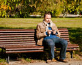 Young man with a mobile phone on bench using Stock Photos