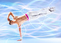 Young man modern dance with light effects Royalty Free Stock Photos