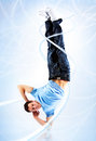 Young man modern dance with light effects Stock Photos