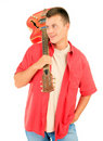 Young man with orange electric guitar Stock Photography