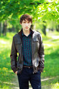Young man outdoors good looking Royalty Free Stock Photos