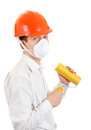 Young man with paint roller in hard hat isolated on the white background Stock Images
