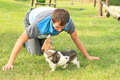Young man playing with a dog in t shirt stripes puppy on green grass Stock Photography